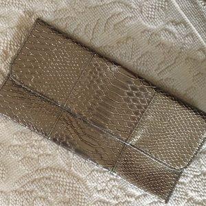 Silver/Grey Faux Croc Clutch
